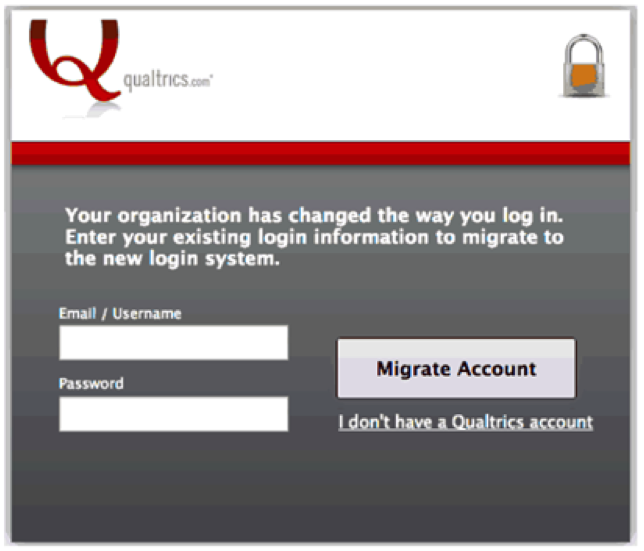 Login page for Qualtrics